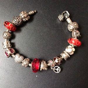 Pandora bracelet with 14 charms